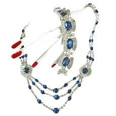 Exquisite Sapphire Blue Vintage Kramer Necklace and Bracelet