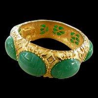 Huge Vintage 1950s Kramer Egyptian Revival Scarab Clamper Bracelet