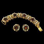 Art Signed Topaz Glass Chunky Vintage 50s Bracelet with Faux Pearls
