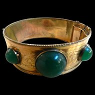 Late 1800s Victorian Chrysophase Rolled Gold Clamper Bracelet