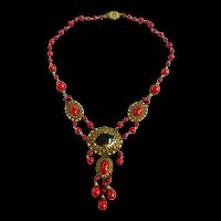 Magnificent Czech 1920s or  Earlier Red Drippy Necklace