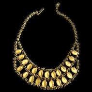 Vintage Bib Collar Moonstone 1950s Necklace