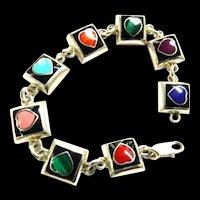 Mexican Sterling 925 Hearts bracelet Lapis,Turquoise ,Malachite