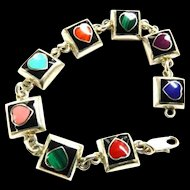 Mexican Sterling 925 Hearts bracelet Lapis,Turquoise ,Malachite