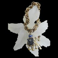 Adorable and Charming Elephant Vintage Charm Bracelet