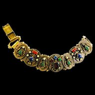 Extraordinary Egyptian Revival Faux Stones Big Bold Vintage Bracelet