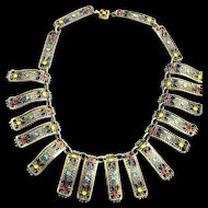 Fabulous Egyptian Revival Enameled Dimensional 1930s Collar