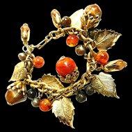 Lots of Noise Charm Bracelet with Acorns, Leaves, Baubles, Vintage 50s