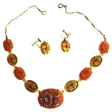 Early 1900s Czech Carved Carnelian Stones Necklace and Earring Demi