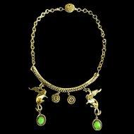 Vintage Griffin Drippy Renaissance Revival Necklace 1940s