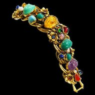 Spectacular Egyptian Revival  Huge Scarab Bracelet