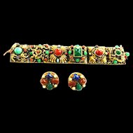 Museum Quality Huge Chunky 1940s Egyptian Revival Bracelet and Earrings