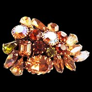 Fabulous 1950s Weiss Encrusted Fall Brooch Assorted stones