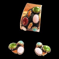 Mid Century Modern Matisse Scarab Cuff Bracelet and Earrings