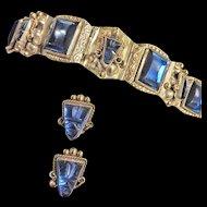 Fabulous Mexican 1940s Eagle Mark Sterling Bracelet and Earrings