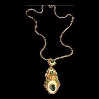 Fabulous 1930s Czech Emerald Green Pendant Necklace