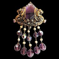 Early 1900s Amethyst Filigree Huge Brooch