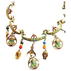 Vintage Egyptian Revival Necklace Many Charms including Pharaoh
