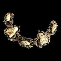 Vintage Buddha  Carved Stone Bracelet