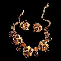 Fabulous Hobe Vintage Art Glass Tulip Necklace and Earrings