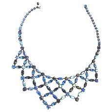 Exquisite Designer D Vee Collar Bib Necklace Montana Blue 50s