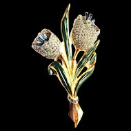 Designer  1930s -1940s Rhinestone Encrusted Brooch