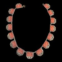 Vintage Early 1900s Carnelian Asian Design Necklace Carved Glass