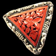 1940s Chinese Triangular Dress Clip Cinnabar