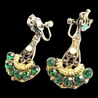 Vintage 1930s -1940s drippy Chandelier Emerald Green Rhinestone Earrings With Faux Pearls