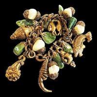 Vintage OLD Victorian Style Charm Bracelet Loaded