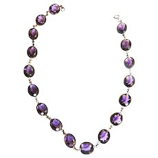 Early 1900s Czech Reviere Amethyst Glass Necklace