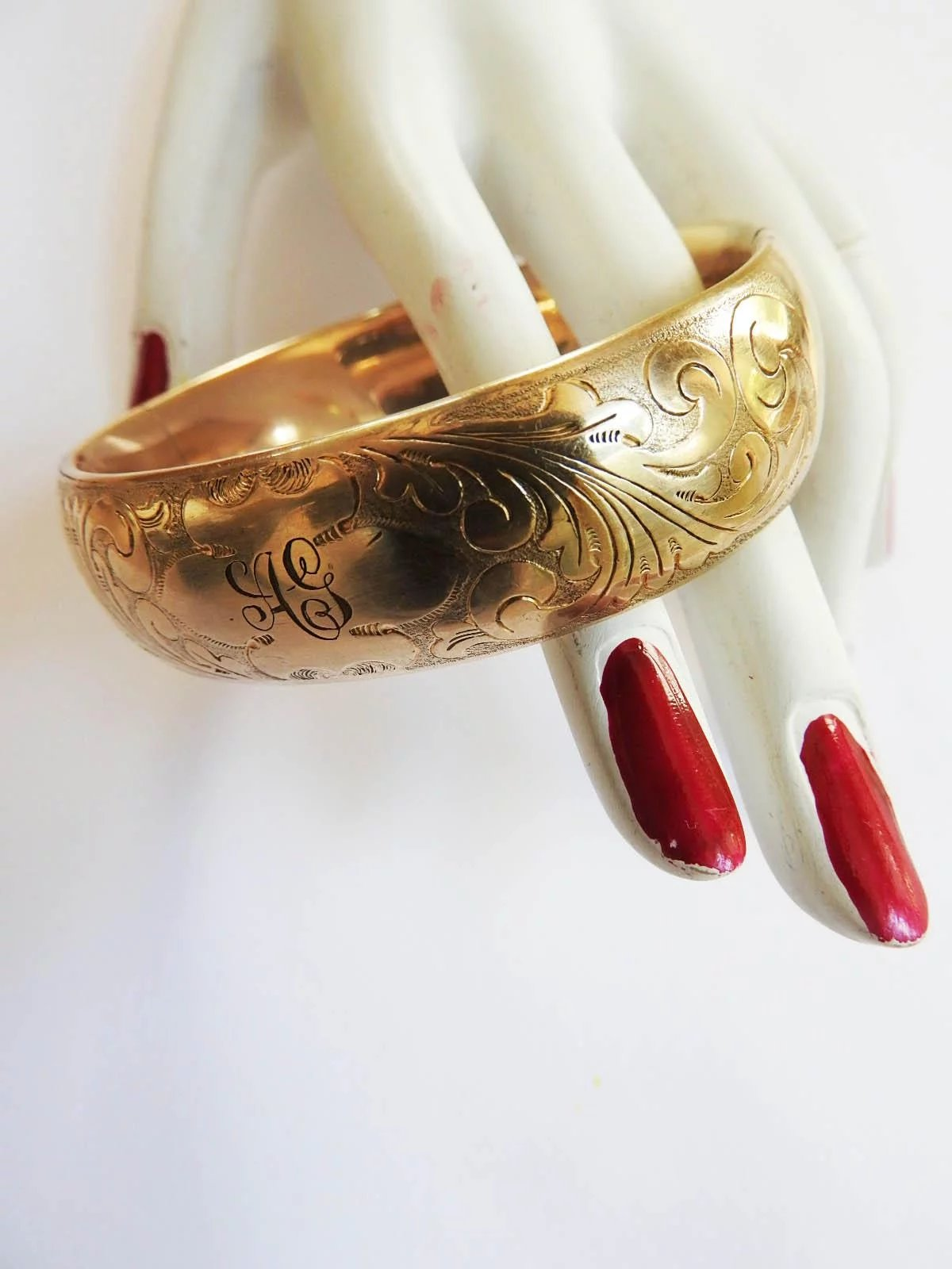 Late 1800s Gold Filled Bangle Bracelet Vintage Parures