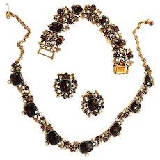 Breathtaking Garnet Vintage Necklace Bracelet and Earrings c. 1950 w Faux Pearls