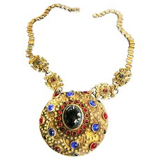 Spectacular  Early 1900s Czech Jeweled Pendant Necklace