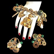 Asian Motif Signed ART Charm Bracelet and Earrings c. 1950s