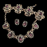 Fabulous Designer Amethyst Huge Vintage Necklace Bracelet  Earrings Rhinestone Faux Pearls