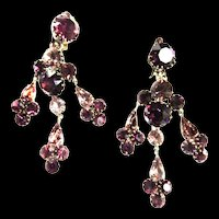 Exquisite Drippy Vintage Designer Amethyst Glass Earrings