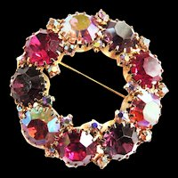 Vintage Weiss amethyst and Fuchsia Brooch