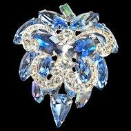 Gorgeous Weiss 50s Sapphire Blue Brooch