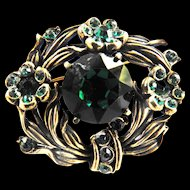 Hollycraft Emerald Green Rhinestone PIn Brooch