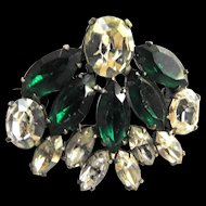 Designer high end Emerald Green Fan Shaped Brooch
