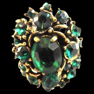 Hollycraft 1954 Emerald Green Rhinestone Ring