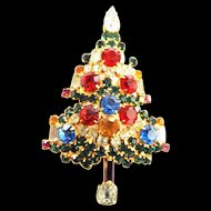 Vintage Warner Encrusted Xmas Tree Brooch