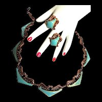 Gorgeous Matisse Copper Enamel Vintage Necklace and Earrings