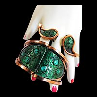 Fabulous Matisse Speckled Cuff Bracelet and Earrings