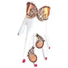 Gorgeous Renoir  Laurel Copper Clamper Bracelet and Earrings
