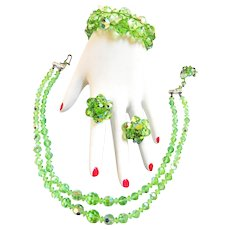 Vintage Faceted  Crystal Glass Peridot Necklace Earrings Bracelet