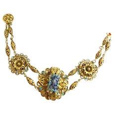 Fabulous Late 1800s to Early 1900s Lapis Filigree Czech Bracelet