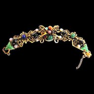 Vintage 40s Scarab Faux Jade Faux Lapis Intaglio Big Chunky Bracelet