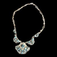 Vintage Czech Aqua Rhinestone Filigree Vintage Necklace